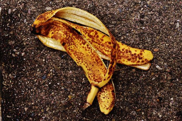 Banana peel on ground