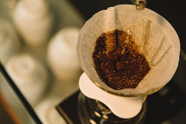 Coffee filter with coffee grounds in it