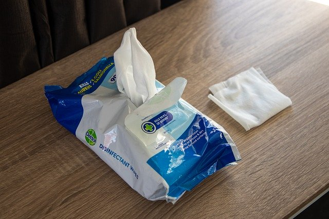 Flushable disinfectant wipes on table