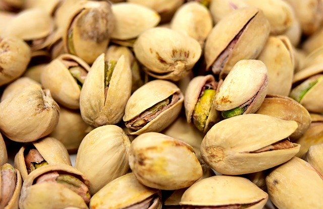 Pistachios bunched together