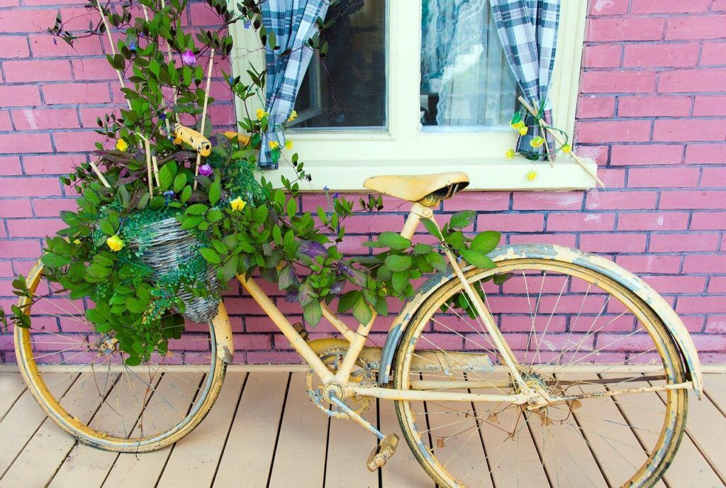 Bike repurposed as a plant holder