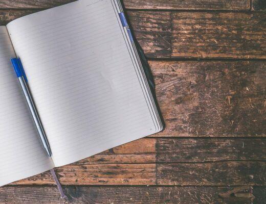 Journal on wood desk