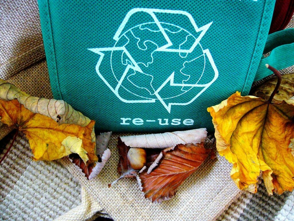 Recycling bag among some autumn leaves