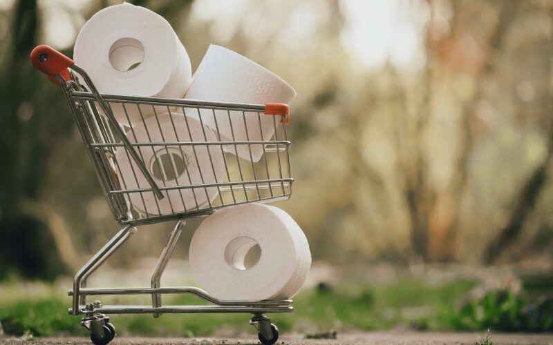 Toilet Paper in shopping basket with nature background