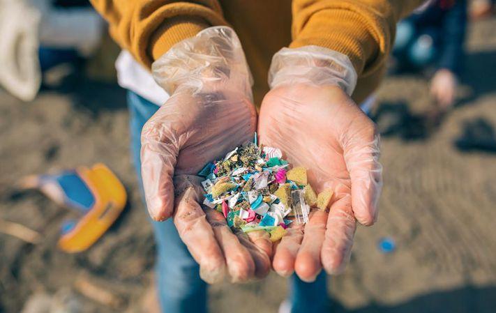 Microplastics in gloved hand