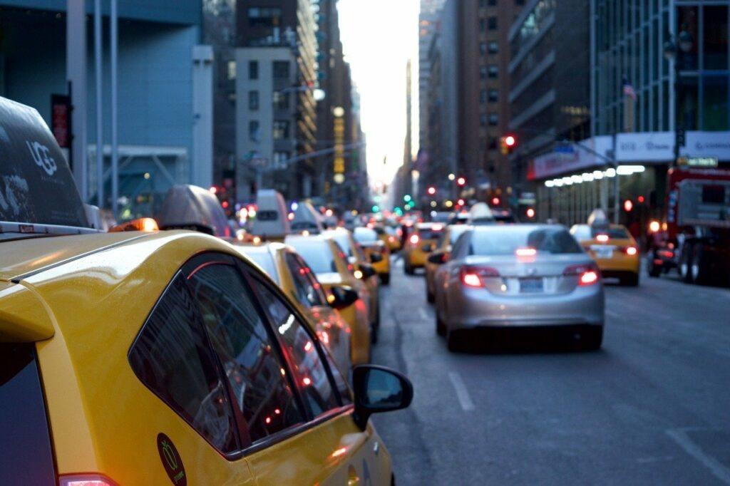 Cars stuck in traffic in city